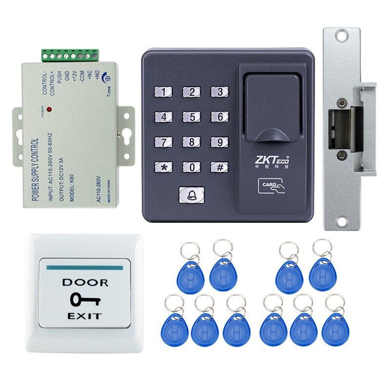 Полный RFID считыватель палец сканер отпечатков пальцев контроля доступа X6 + Электрический замок Удар + источника питания + кнопка выхода + клю...