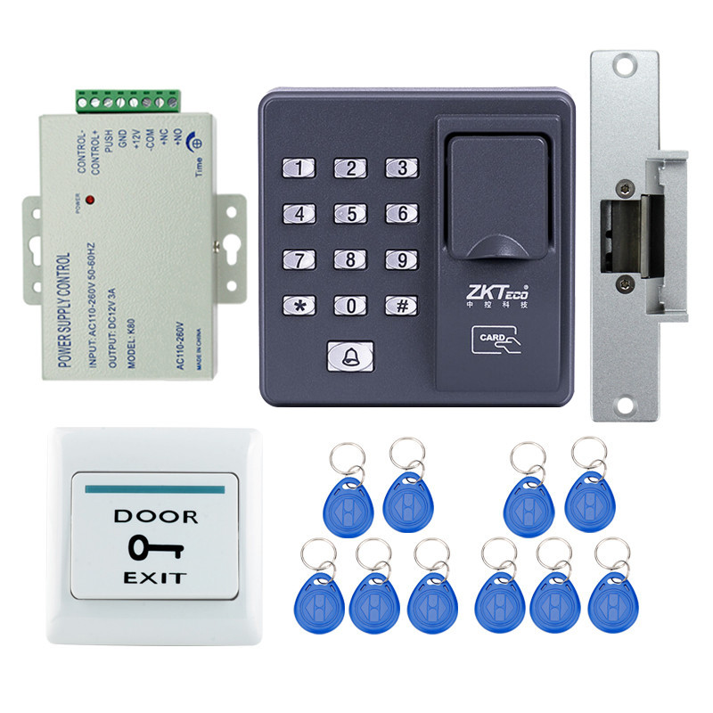 Full RFID reader finger scanner biometric fingerprint access control X6+electric strike lock+power supply+exit button+key cards