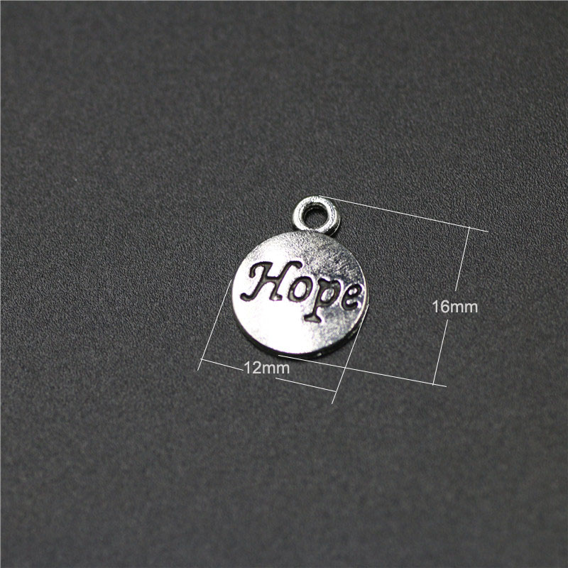 High Quality 50 Pieces/Lot 12mm*16mm Antique Silver Plated Round Disc Tag Letter Engraved Inspiration Message Hope Charms
