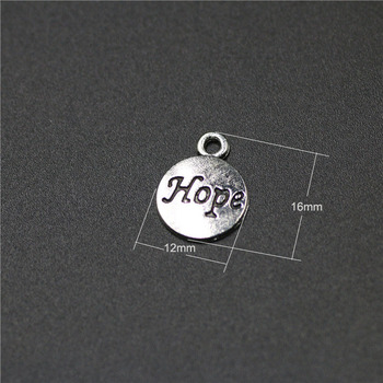 High Quality 50 PiecesLot 12mm*16mm Antique Silver Plated Round Disc Tag Letter Engraved Inspiration Message Hope Charms