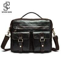 2016 New Genuine Leather Men Messenger Bag Men S Crazy Horse Leather Handbag Casual Business Laptop