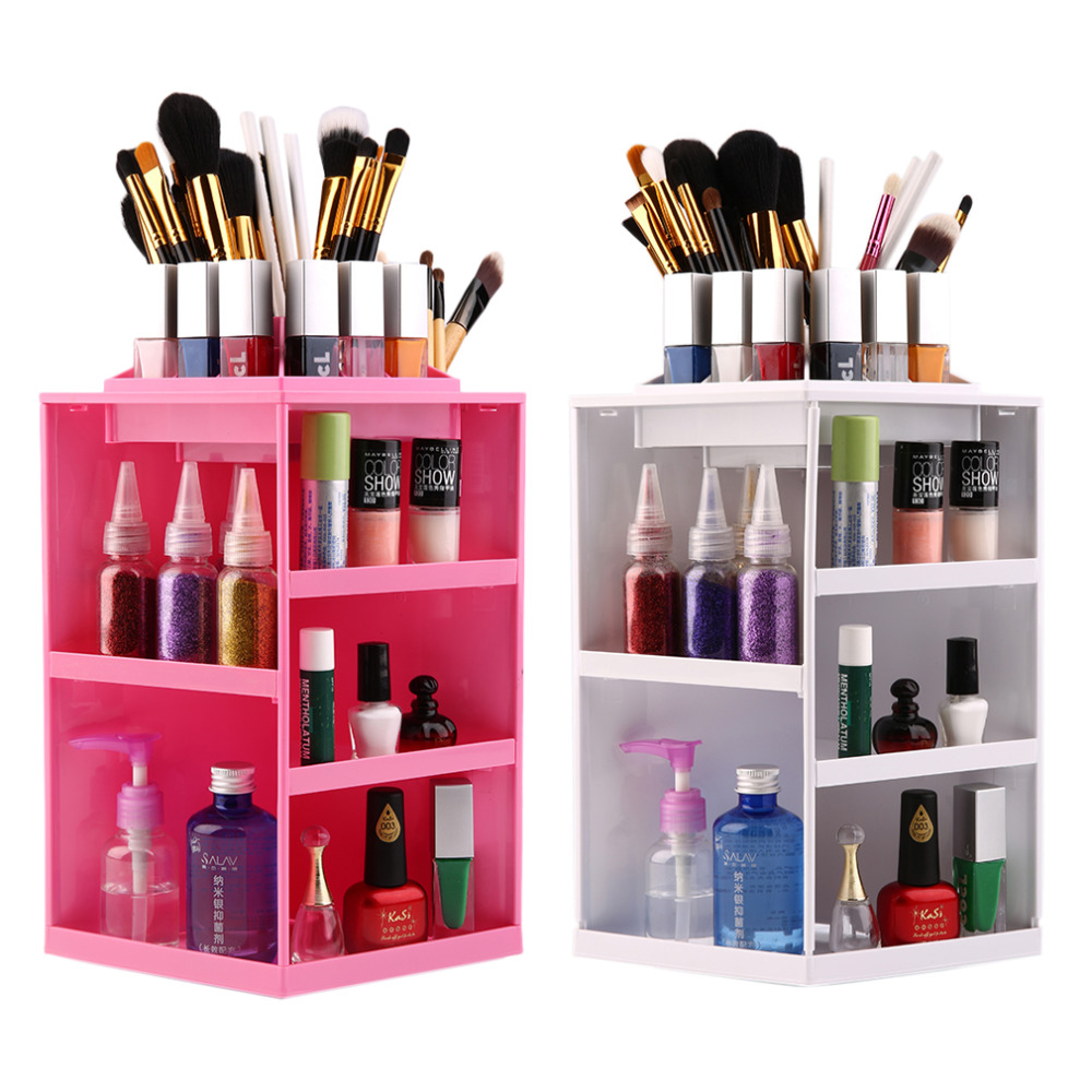Pro 360 Degree Rotation Rotating Make up Organizer Cosmetic Display Brush Lipstick Storage Stand Pink White Colorful 360 degree rotation transparent makeup organizer case cosmetic brush storage holder box can freely change storey hight