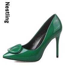 2016แบรนด์ใหม่มาถึงฤดูใบไม้ผลิ/ฤดูร้อนผู้หญิงปั๊มแฟชั่นแหลมนิ้วเท้าหนังสิทธิบัตรผู้หญิงรองเท้าส้นสูงหญิงรองเท้าD45