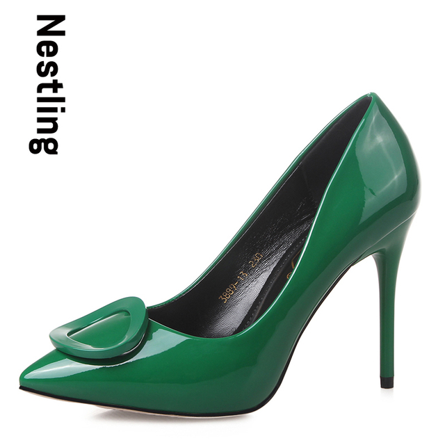 2016 Brand New Arrival Spring/Summer women pumps Fashion Pointed toe Patent Leather women high heels shoes woman D45