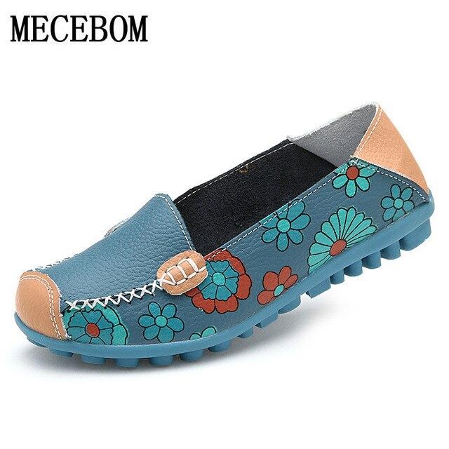 2018 spring women  leather shoes slip-on shoe women flats print woman shoes 4 colors moccasins ladies shoes 3591W