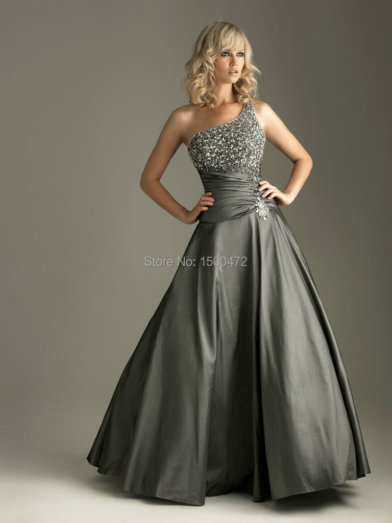 Compare prices on sexy bridesmaid dresses under 50 sequined stock elegant sexy one shoulder grey bridesmaid dresses beading sequin bodice a line bridesmaid ombrellifo Image collections