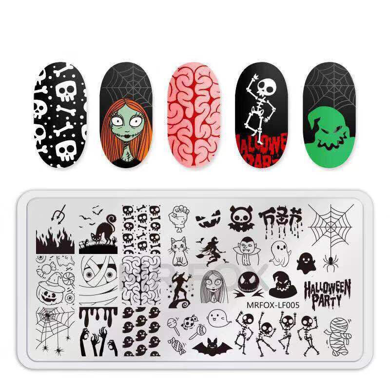 1pc  Nail Stamping Plate Halloween Image Celebration Christmas Snowflake Rectangle Manicure Stamp Template Nail Art Image Plates