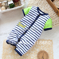 Free Shipping Retail New 2013 Newborn Baby Clothes Summer Boy Thin Stripe Romper Baby Bodysuit Cool