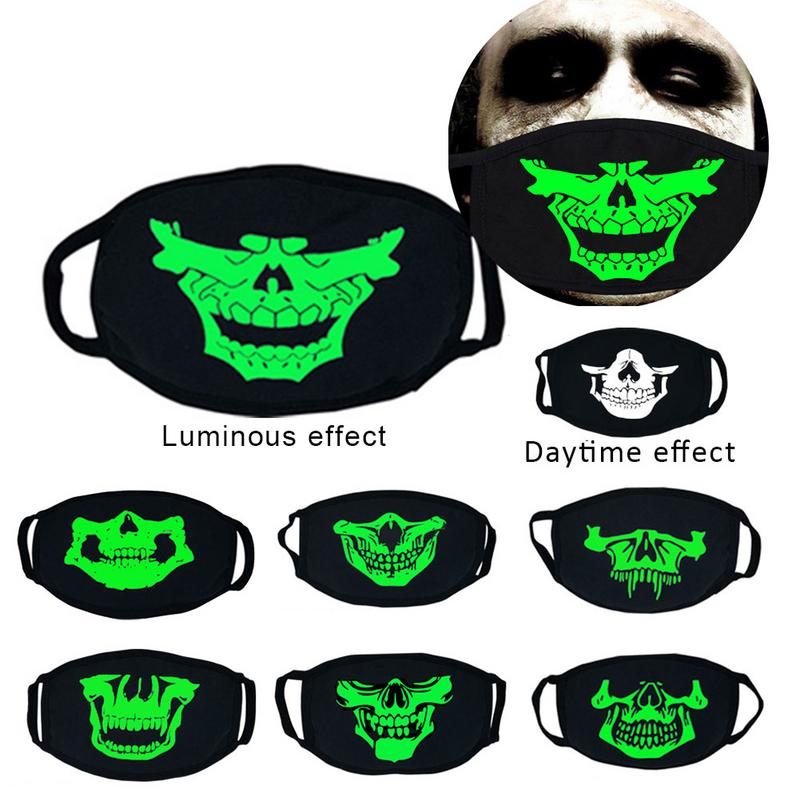 Unisex Thick Luminous Masks Halloween Cosplay Props Horror Skull Head Teeth Cotton Mask Protection Dust-proof Anti-exhaust