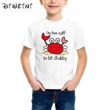 Summer 2019 Toddler Premium T-Shirt Too Cute Crab Boys t shirt cute cartoon crab print white tshirt Funny design kid clothes