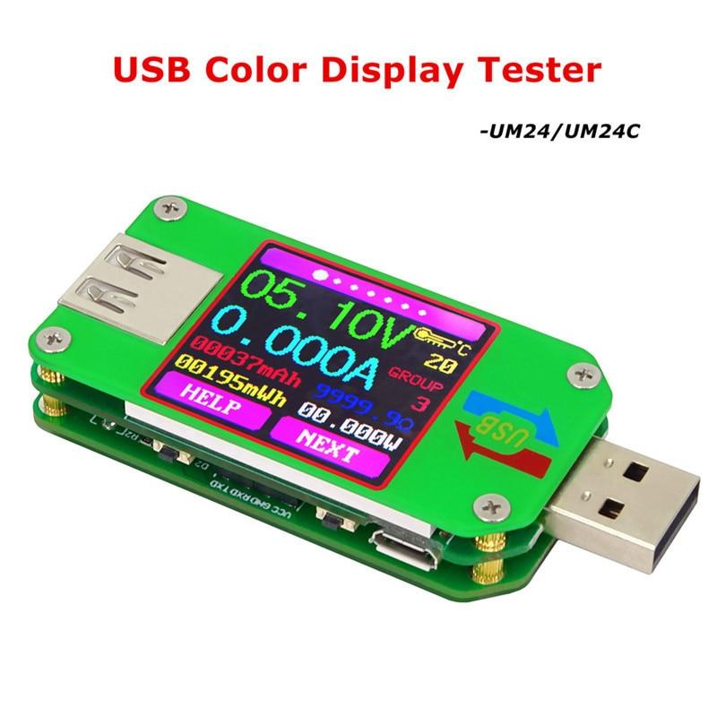 UM24 UM24C USB 2.0 Color LCD Tester Voltaje Corriente Meter Voltimetro Amperimetro Bateria Medida Resistencia Del Cable