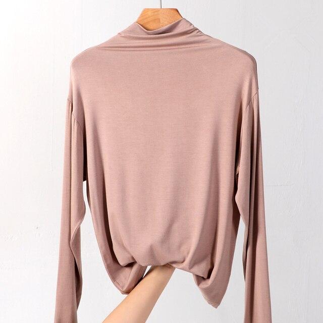 100% cotton long sleeve Solid Turtleneck t-shirt women high stretch slim tops spring autumn skinny Basic Bottoming tshirt tight 4