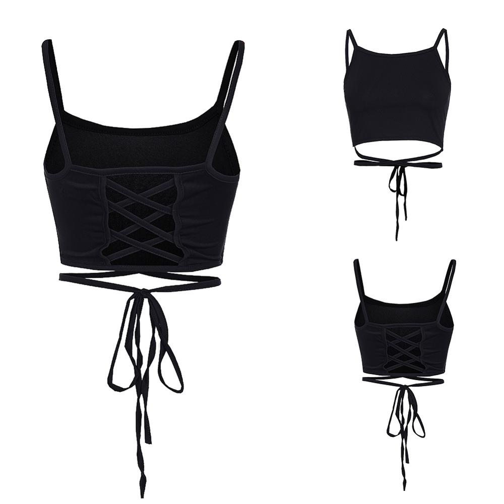 Summer Wrapped Chest Backless Cross Straps Exposed Navel Camisole Women 39 s Sexy Vest Slim Slimming Short Paragraph Bottom Straps in Camis from Women 39 s Clothing
