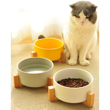Pet Supplies Pet Feeder Cat Bowl Small Dog Cutlery Cat Bowl Ceramic Bowl Solid Wood Frame Strong Easy To Clean he pet supplies cat bowl dog tableware ceramic stainless steel frame easy clean three color high depth and shallow drink bowl