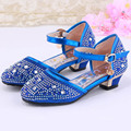 High-heeled Girls Shoes Rhinestone Kids Dress Shoes For Party Ankle Strap Children Girl Sandals Princess Shoes Blue