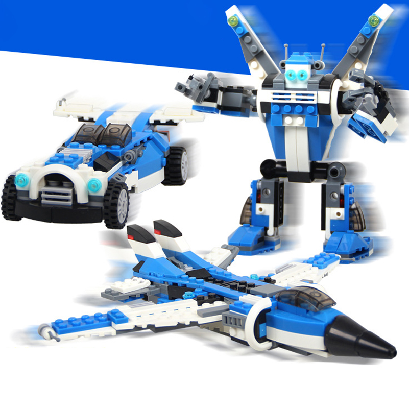 241pcs Fighter Plane Car Robot Model 3 In 1 Transformable Model Building Block Decool DIY Toys Compatible With Legoe Toy for Kid 608pcs race truck car 2 in 1 transformable model building block sets decool 3360 diy toys compatible with 42041
