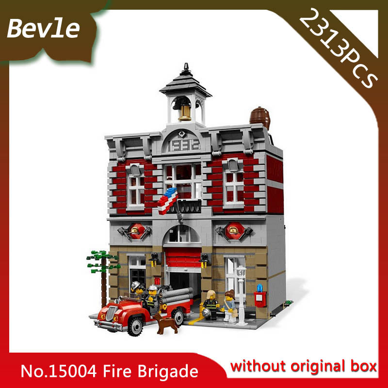 Bevle Store LEPIN 15004 2313Pcs street View series Fire Brigade Station Creator Building Blocks Bricks For Children Toys 10197 dhl lepin 15004 2313pcs city fire brigade model doll house building kits assembing blocks compatible with legoed 10197
