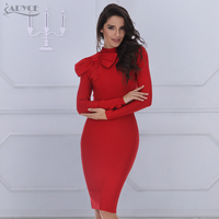ADYCE 2017 New Summer Women Bodycon Dress Long Sleeve High Neck Red Dark Green Bow Knee