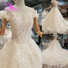 AIJINGYU modesto barato hermosos vestidos Vintage de encaje 2 piezas reina con vestido de perlas talla grande 26 colección de bodas para novia