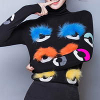 Women's Winter Turtleneck Sweater Eye Fur Ball Sweater Long Sleeve Knit Warm Colorful Pullover Solto Sweater Lurex Black 2019