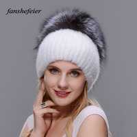 Fanshefeier new good quality fashional knitted warm enough hat Women winter Beanies hat of real natural mink silver fox fur caps