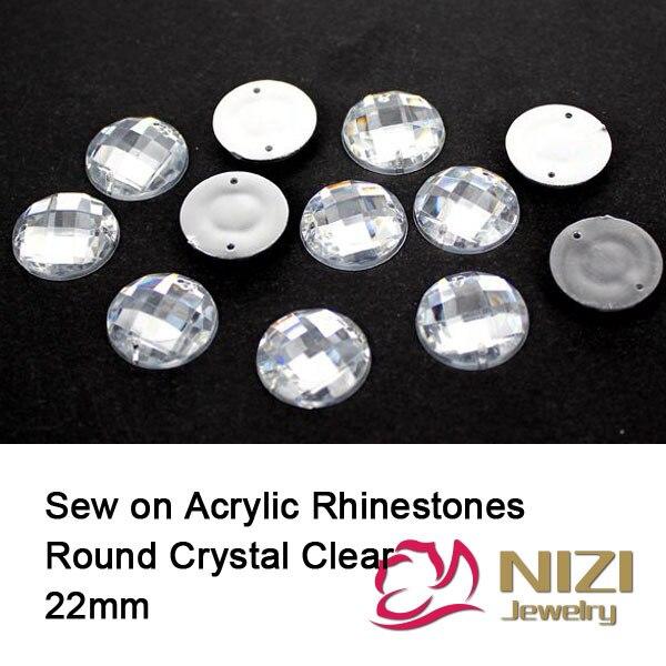 22mm Taiwan Acrylic Rhinestones For Garment Crystal Clear Sew On Flatback Rhinestones New Crystal Rhinestones For DIY Decoration