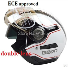 BEON double lens motorcycle helmet  vintage men women summer winter open face 3/4 helmet with inner sun visor  ECE approved