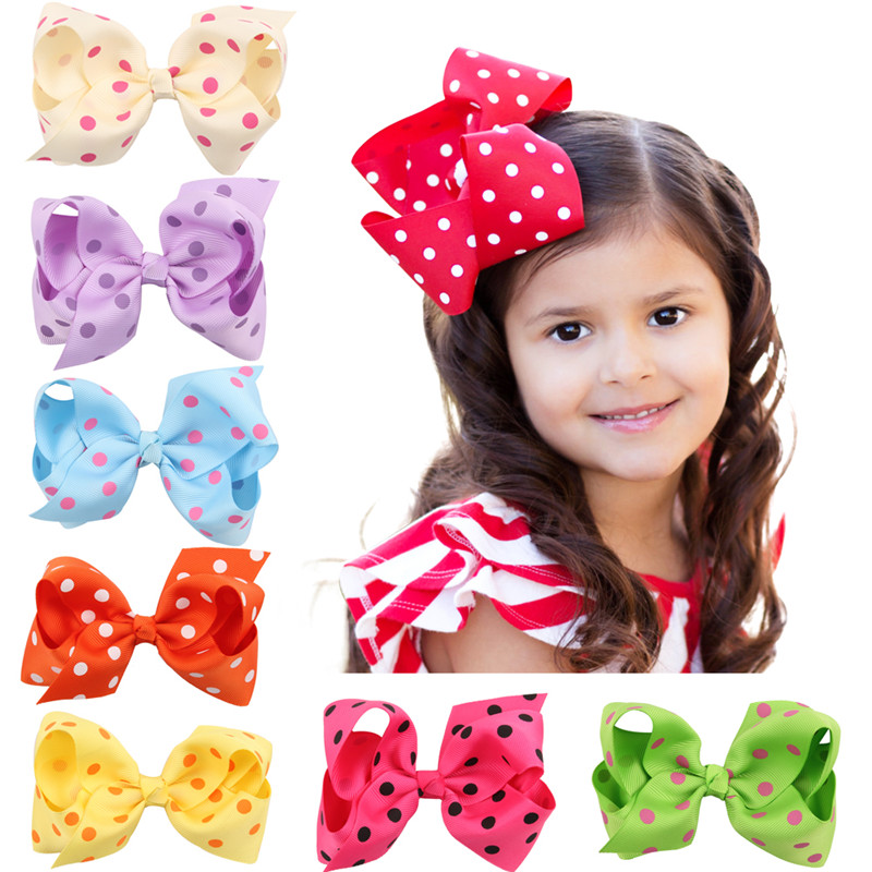 Cute headwear dots Ribbon big dot Bow hairpins Hair Clip Pin Flower Headdress Accessories Green Yellow White Black 5 6pcs lot headwear set children accessories ribbon bow hair clip hairpin rabbit ears for girls princess star headdress t2