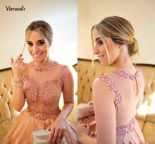 Pink Chiffon Sheer Straps A-line Bridesmaid Dresses Back Pearls Beading Appliques Floor-Length Custom