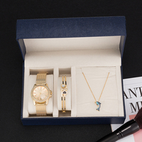 Fashion women wristwatches sets ZONMFEI brand rhinestones necklace/bracelet/watches gift box sets stainless steel ZM013 E