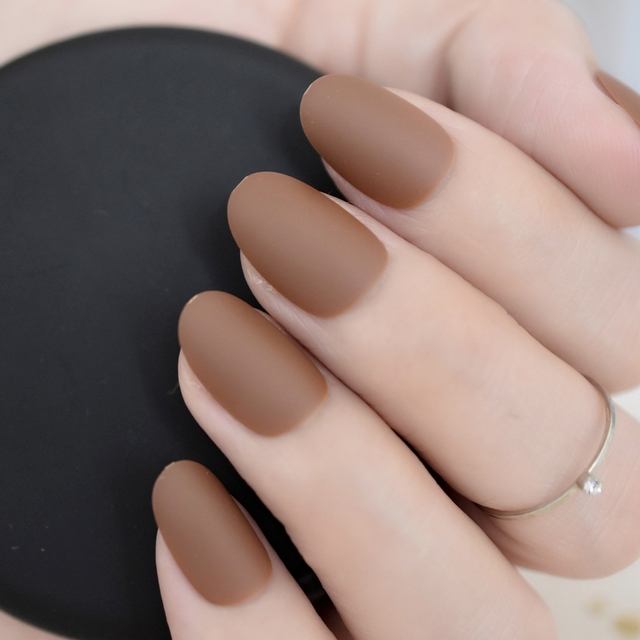 24 pieces Oval Matte Press On Nails Coffee Brown Ladies Fake Nails ...