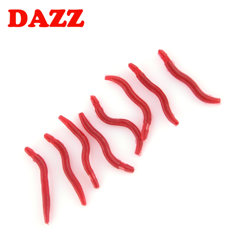 50pcs bag 3 5cm 0 2g Earthworm Soft Fishing Lure Artificial Fishing Fishy Fishing Bait DAZZ in Fishing Lures from Sports Entertainment