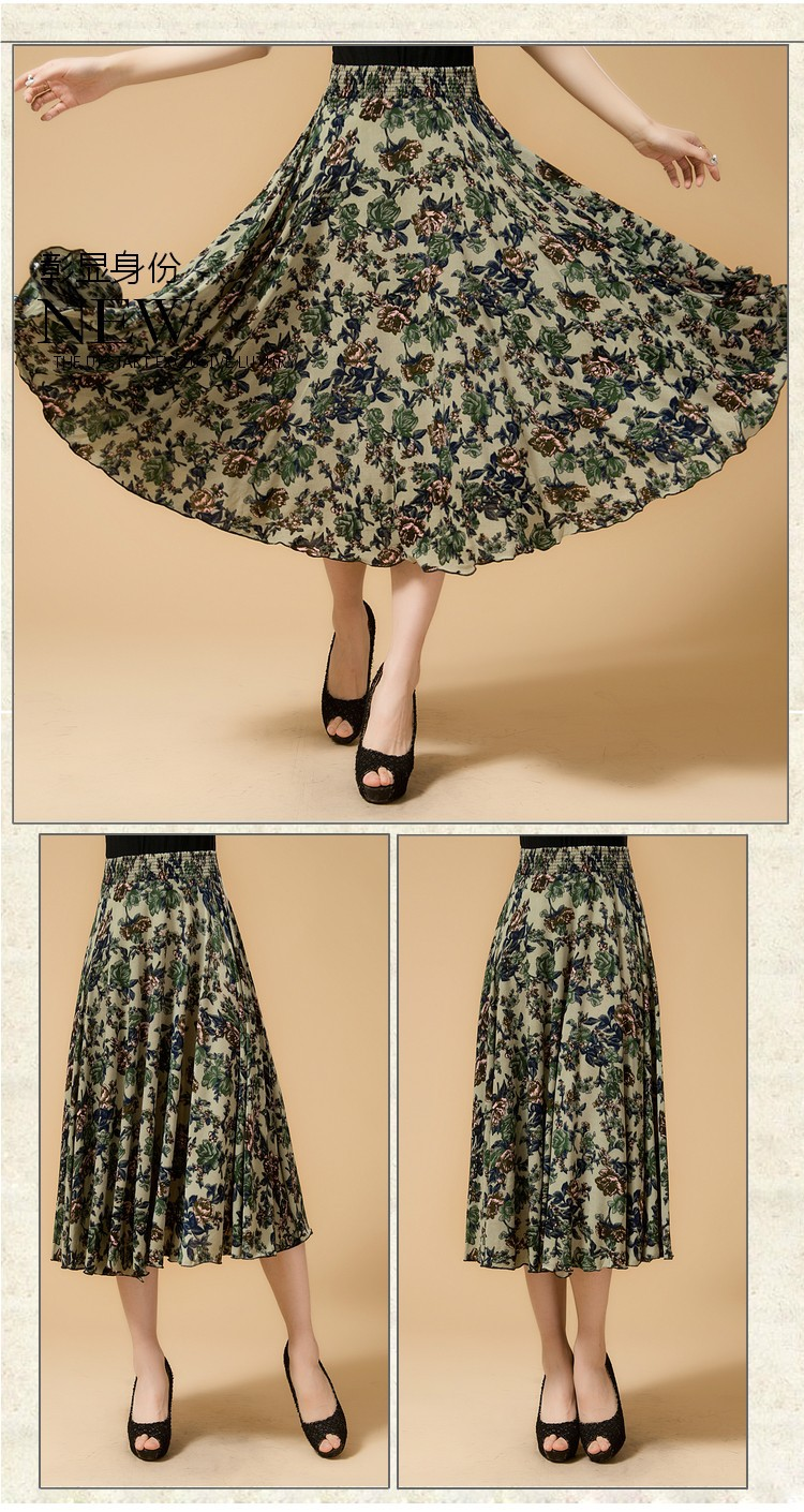 Новинка лета среднего возраста и пожилых Женская мода свободные большой код печати хлопок с эластичной талией юбки хорошее качество ae120