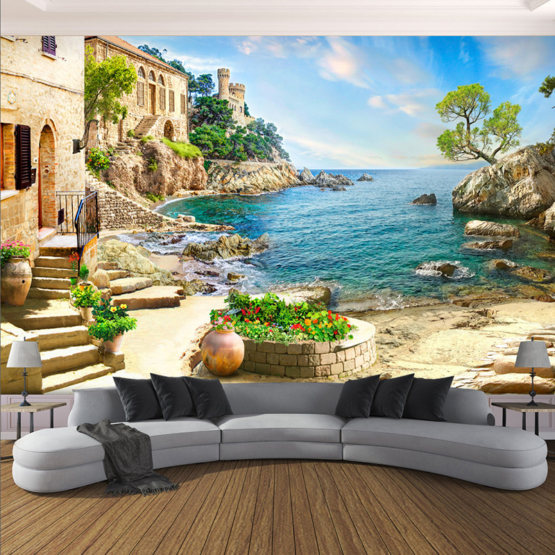 Ambitious 3d Wall Mural Modern Seaside Landscape Photo Wallpaper Living Room Bedroom Restaurant Background Wall Decor Papel De Parede 3 D Pure White And Translucent Wallpapers