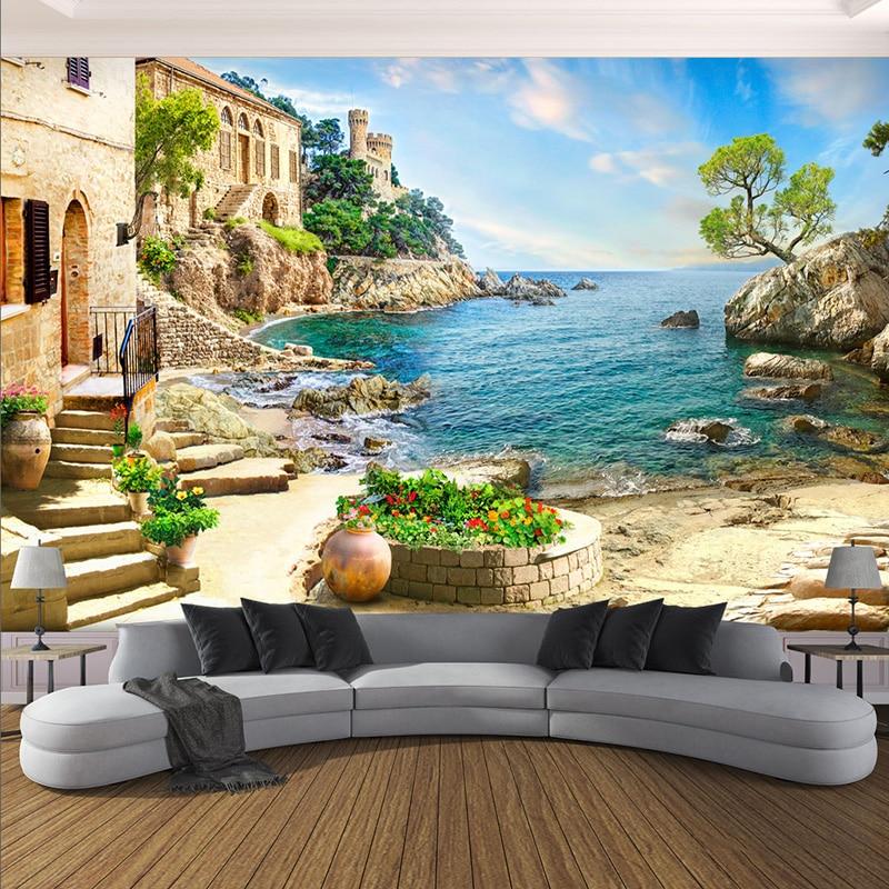 3D Wall Mural Modern Seaside Landscape Photo Wallpaper Living Room Bedroom Restaurant Background Wall Decor Papel De Parede 3 D