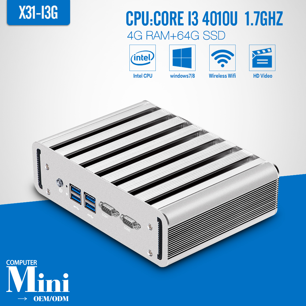 I3 4010U 4 G RAM 64 G SSD con Wifi 2 * LAN 2 * COM Mini PC con Windows 7 computa