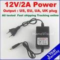 Envío Libre 12 V AC/DC CCTV 2A 12 V Adaptador de Conmutación Fuente de alimentación de Monitoreo de Reino Unido/EE. UU./UE Plug