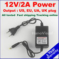 Free Shipping 12V AC/DC 2A CCTV 12V Adapter Switching Power Supply Monitoring power Uk/US/UE Plug