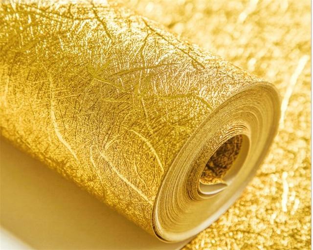 Beibehang goldfolie 3d wallpaper einfarbig 3d earthhill for 3d tapete gold