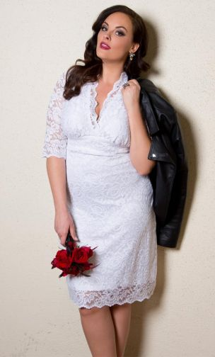 plus size dress three quarter sleeve ivory