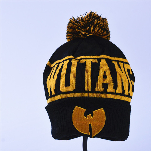 d75ec2e30 US $7.87 5% OFF|High Quality Winter Wutang Letter CLAN Musice Beanie  Skullies Knitted Women Wu Tang Hat HipHop Warm pompom Hats Caps Gold-in  Skullies ...