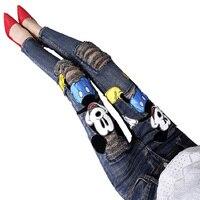 Fashion Cartoon Vrouw Skinny Mid Taille Jeans Vrouwelijke hot verkopen Denim Potlood Pant Elastische Ripped Meisje jeans Broek A295