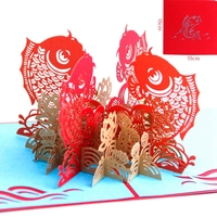 Happy Chinese New Year PostCards With Envelope Laser Cut The Multi Color Koi 3D Pop Up