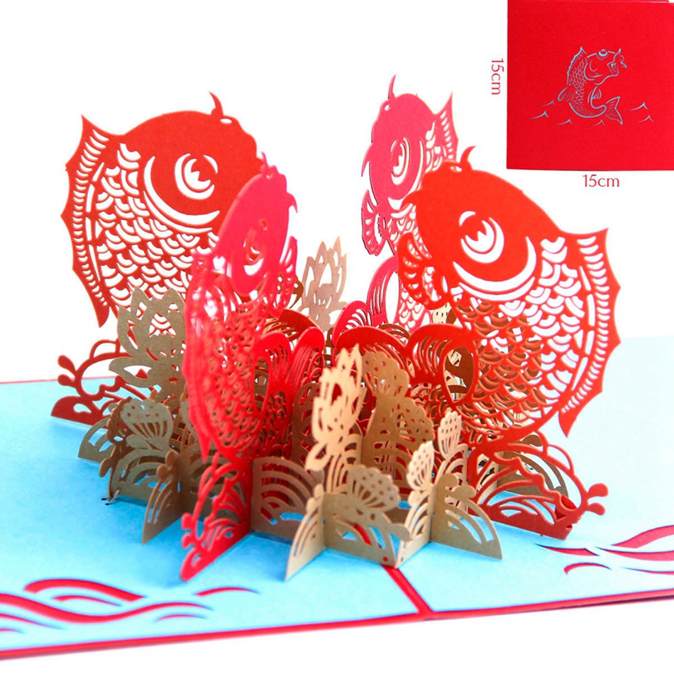 Happy Chinese New Year PostCards with Envelope Laser Cut The Multi-color Koi 3D pop up Greeting Cards Spring Festival 30pcs in one postcard take a walk on the go dubai arab emirates christmas postcards greeting birthday message cards 10 2x14 2cm