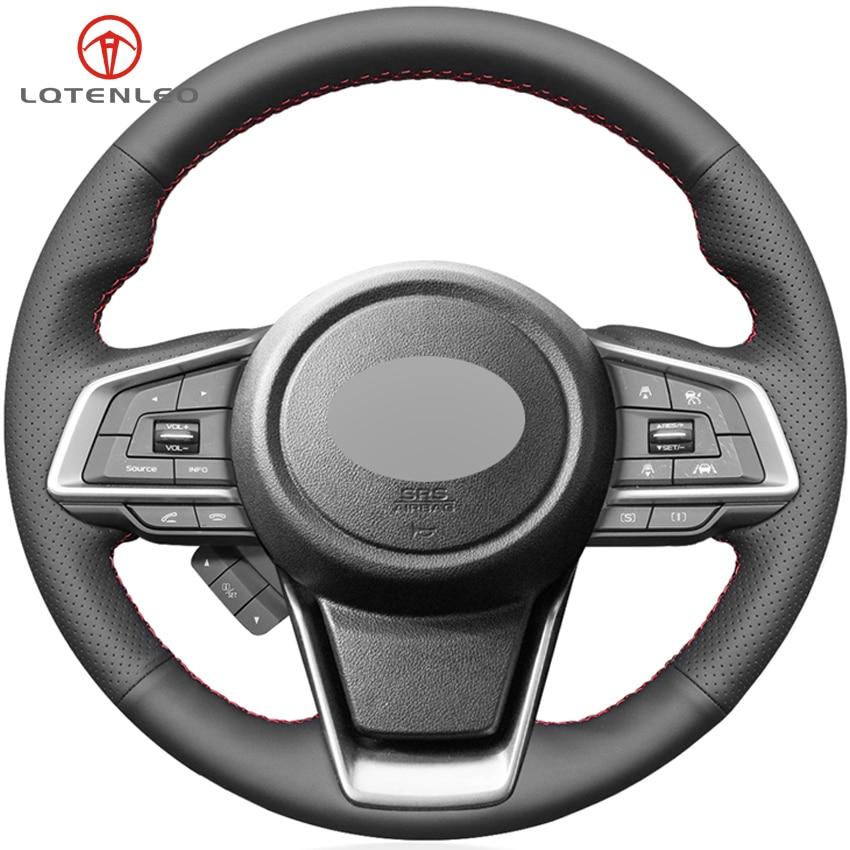 LQTENLEO Black Genuine Leather Car Steering Wheel Cover For Subaru Forester Crosstrek 2018 2019 Legacy Outback