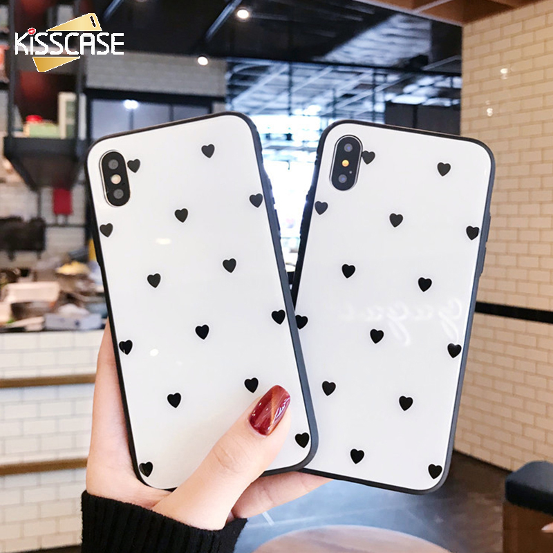 KISSCASE Luxury Tempered Glass Case For iPhone X 10 Cute Love Heart Full Clear Glass Phone Case Cover For iPhone 7 8 Plus 6 6s iPhone