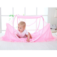 Newbaby Bedding Crib Netting Folding Baby Mosquito Nets Bed Mattress Pillow Three-piece Suit for 0-3 Years Old Children