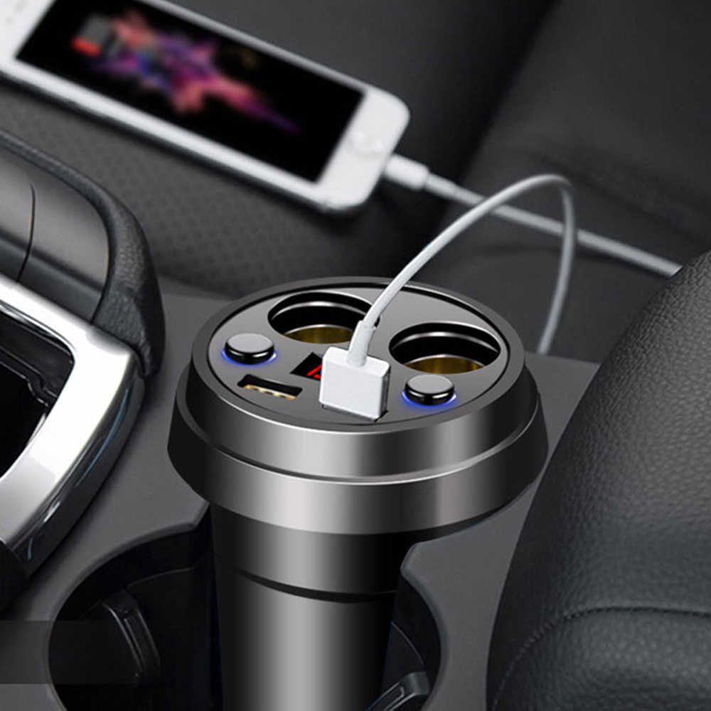 Powstro Cup Car Charger 5V 3.1A Digtial Display Dual USB Car-Charger With 2 Cigarette Lighter Socket For GPS DVR Mobile Charging