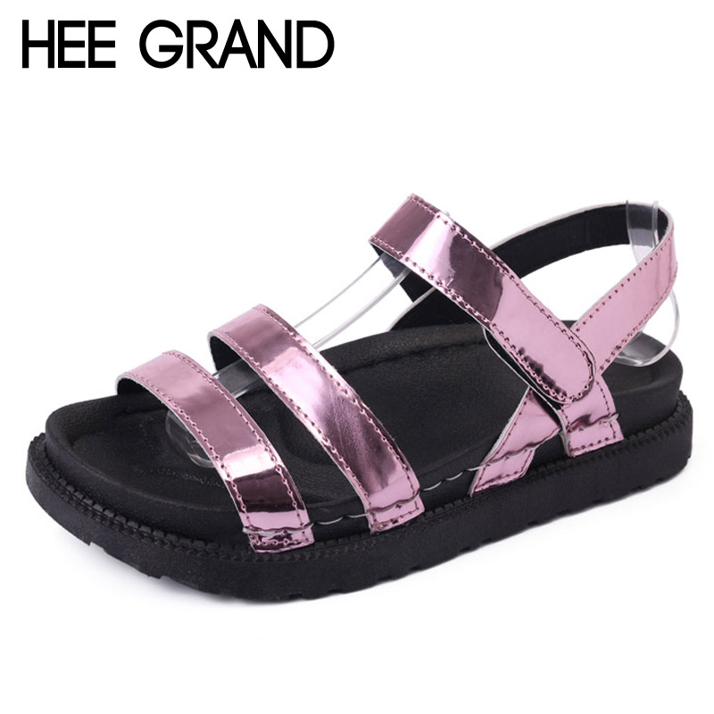 HEE GRAND 2017 Summer Creepers Gold Silver Gladiator Sandals Platform Flats Shoes Woman Slip On Women Shoes 3 Colors XWZ4241 lanshulan wedges gladiator sandals 2017 summer peep toe platform slippers casual glitters shoes woman slip on flats creepers