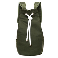 Casual Men Canvas Backpack Large Capacity Barrel Backpack Sport Basketball Bag Army Green String Drawstring